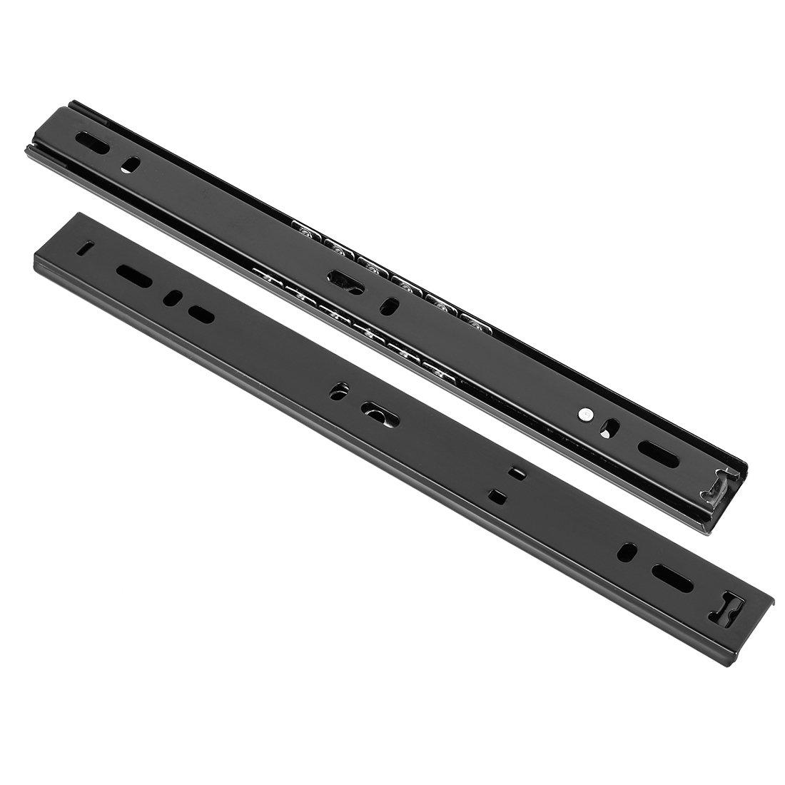100 lbs de capacidad,27mm de ancho,Negro,1 par sourcing map Correderas de caj/ón con rodamiento de bolas,10-pulgadas