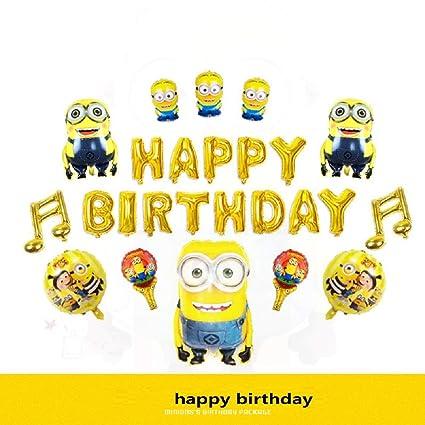 Amazon.com: Juego de decoración de cumpleaños de Minion ...