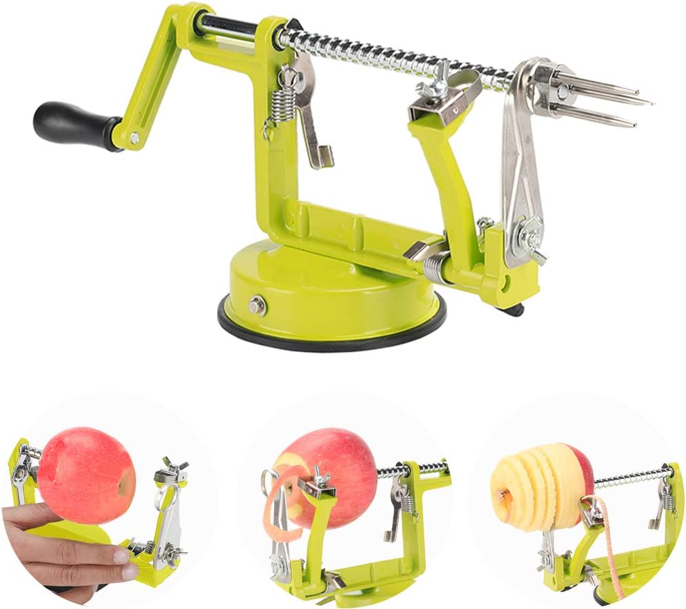 Apple Peelers,Apple Peeler Corer Slicer Suction Base Durable Heavy Duty Blade Peelers 2 Blade Made in USA