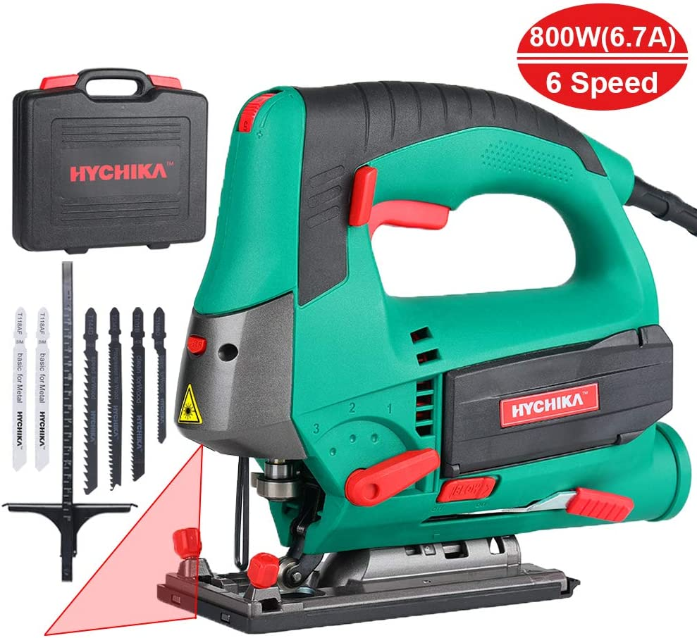 Jig saw 6.7A 800W HYCHIKA Jigsaw 800-3000SPM Cutting Depth 110mm 4.3 for Wood with 6 Variable Speeds 4 Orbital Sets Bevel Angle -45 45 , 6PCS Blades Carrying Case Wood Metal Plastic Cutting