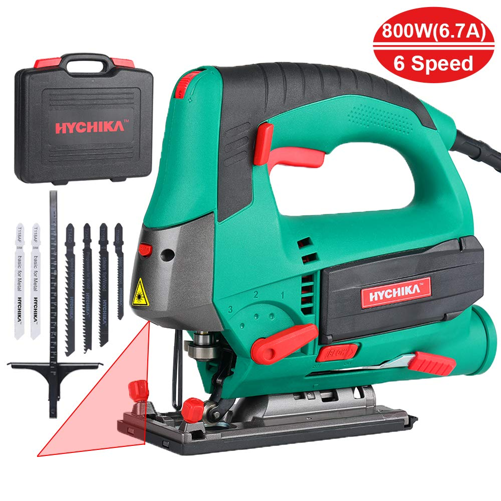 Jig saw 6.7A 800W HYCHIKA Jigsaw 800-3000SPM Cutting Depth 110mm(4.3'') for Wood with 6 Variable Speeds 4 Orbital Sets Bevel Angle (-45°~45°), 6PCS Blades Carrying Case Wood Metal Plastic Cutting