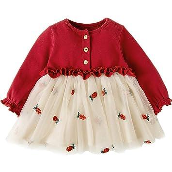bfbd0f39ac742 ZooArts ベビー ワンピース 女の子 長袖 ガールズ プリンセスドレス チュールスカート かわいい パイナップル刺繍 おしゃれ 春秋 出産