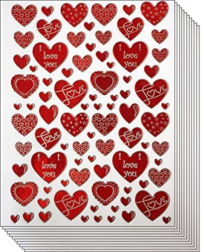Jazzstick 400 Red & White Valentine Heart with Love Decorative Sticker 10 sheets (VST01A03)]()