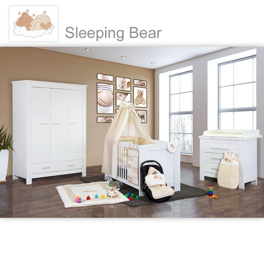 Babyzimmer Enni in weiss 10 tlg. mit 3 türigem Kl. + Textilien von Sleeping Bear, beige
