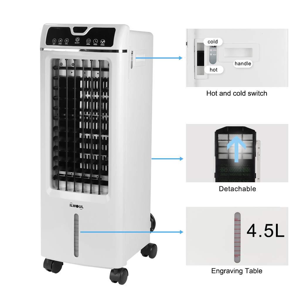 Raffreddamento, Umidificazione e Purificare Iaria Condizionatori Portatili Flusso daria: 550 m/³ // h Telecomando e Timer Climatizzatore Mobile Con Pulsante a sfioramento 3 in 1