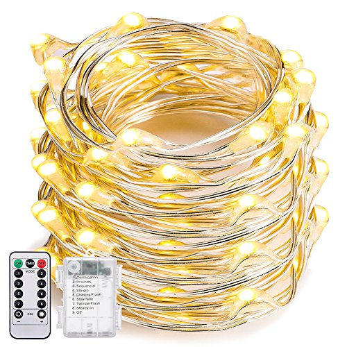 String Lights Dimmable, Oak Leaf 19.7ft 60 LED 8 Modes Fairy Lights Battery-Operated Firefly String Lights Flexible with Remote Cotrol,Waterproof Design,Warm White for Wedding Party Thanksgiving -