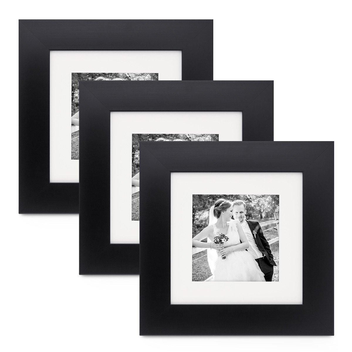 PHOTOLINI 3er Set Bilderrahmen 20x20 cm Schwarz Modern Breit aus MDF ...