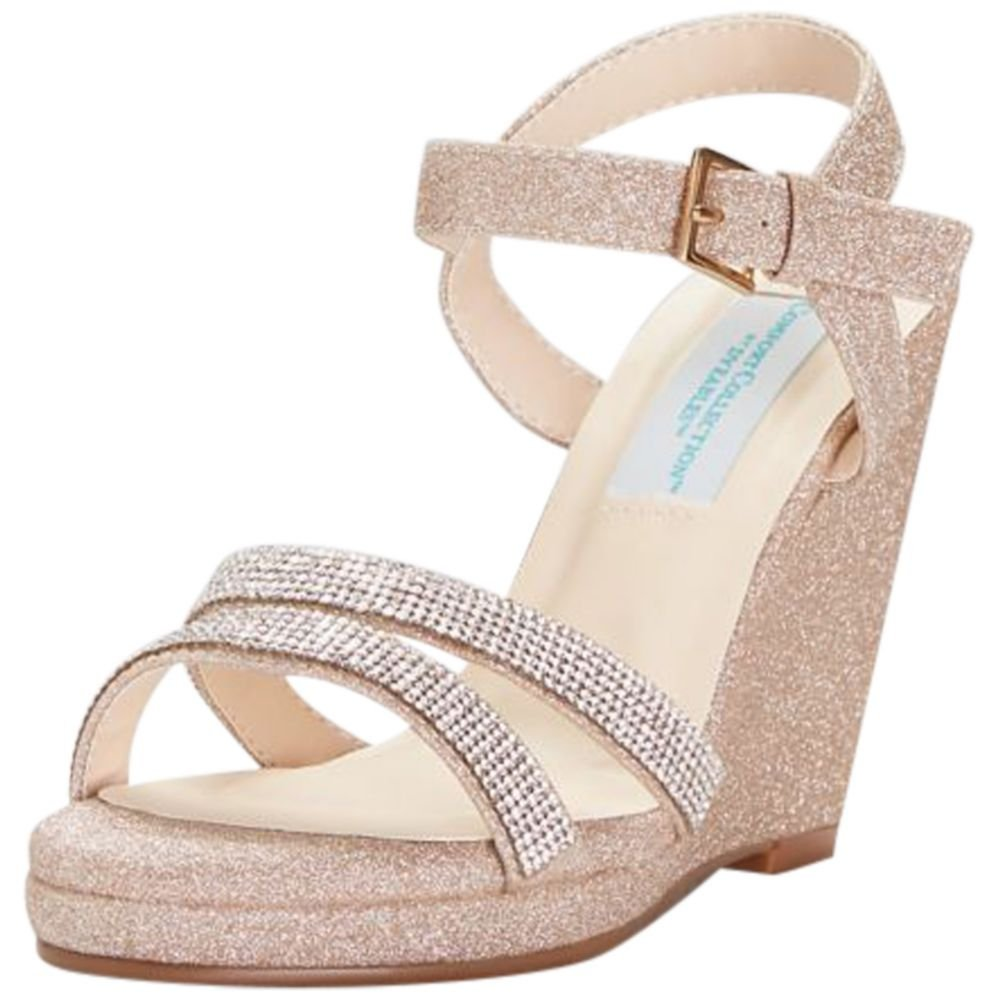 David's Bridal Glitter Platform Wedges with Crystal Straps Style Amy B079P9YLTC 11 B(M) US|Rose Gold