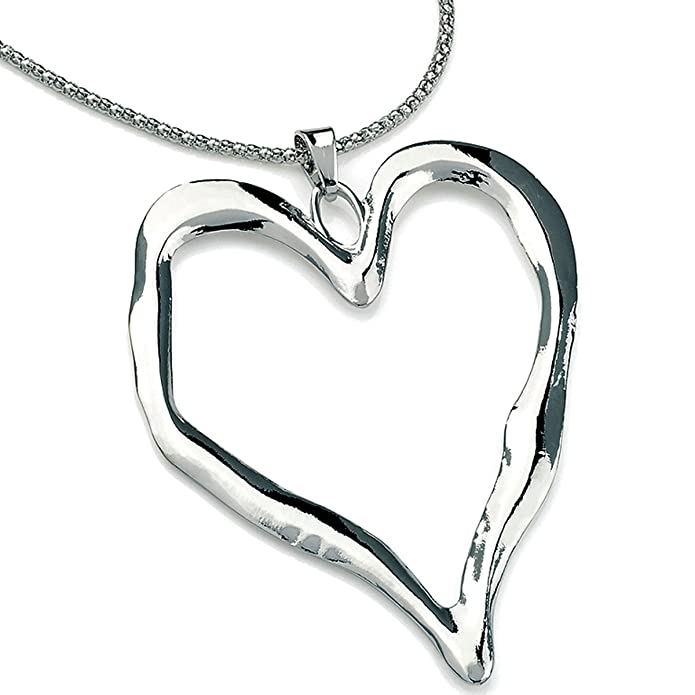 b7872feef49d Lagenlook silver colour big heart pendant long mirror chain necklace  uYdApXrF