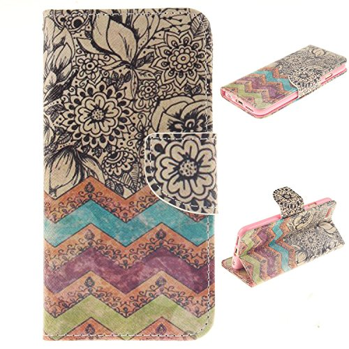 iPhone 6S Plus Case,iPhone 6S Plus Wallet Case, LW-Shop Fashion PU Flip Stand Credit Card ID Holders Wallet Leather Case Cover Folio Magnetic Design for iPhone 6 Plus / 6S Plus 5.5 (Wave Flower)
