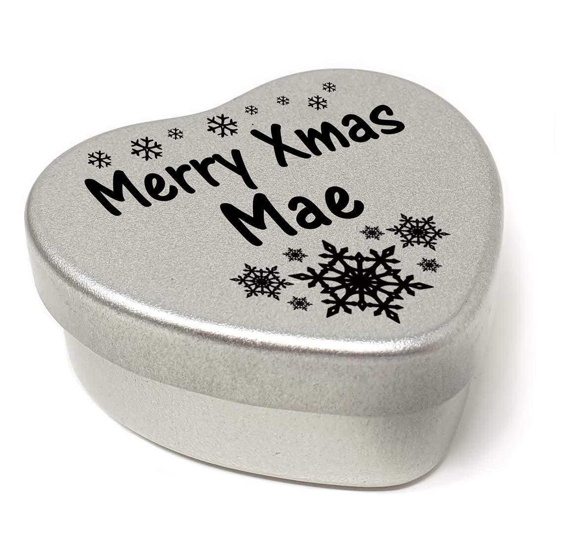 Merry Xmas Mae Heart Shaped Mini Tin Gift filled with mini coloured chocolates perfect card alternative for Mae Fun Festive Snowflakes Design