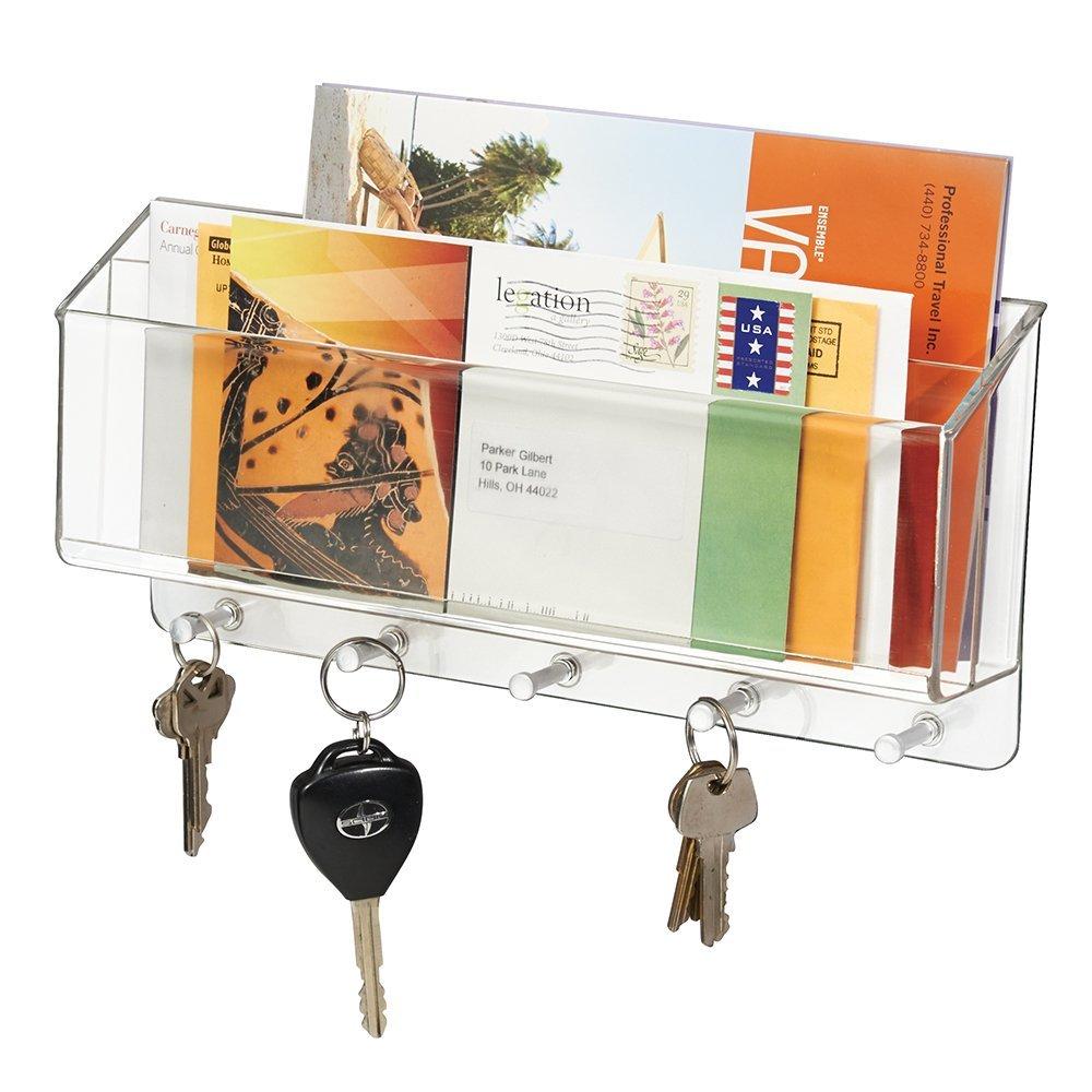 5 Key Hooks mDesign Wall Mounted Key Holder//Wall Letter Holder Black Key Rack and Letter Holder