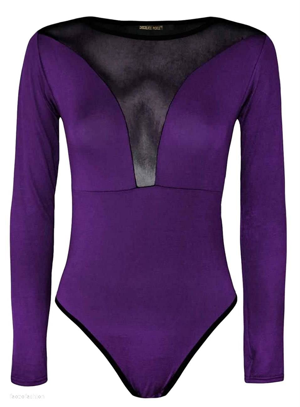 New Womens Long Sleeve Mesh Insert Printed Stretch Bodysuits Lace Leotard Tops