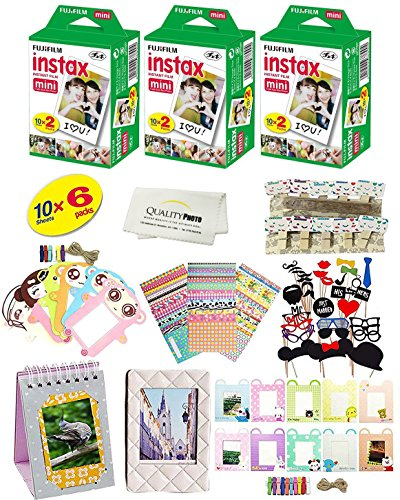 Instant Film 6 Pack = 60 Sheets For Fujifilm INSTAX mini 8 & mini 9 cameras + 60 Hanging Frames + Photo Prop Set + 20 Frame Stickers + Microfiber Cloth + MORE ()