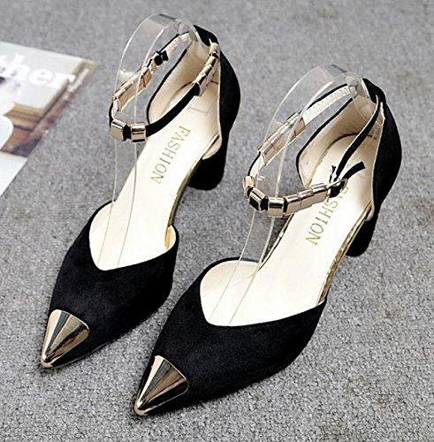 Palabra hebilla gruesa con sandalias hembra salvaje señaló zapatos de gamuza A