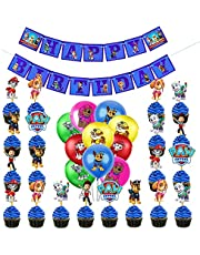 35PCS Paw Patrol Dog Birthday Party Supplies for Kids Paw Patrol Dog Theme Party Decorations, Include Paw Patrol Dog Banner, Paw Patrol Dog Latex Balloons and Cake Toppers