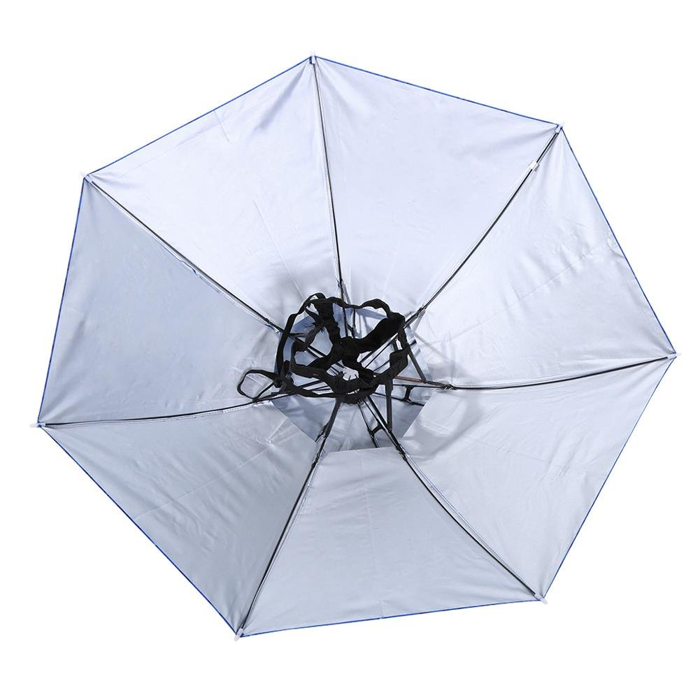 Demiawaking Cappello Ombrello per Pioggia e Sole Cappello da Pesca Parasole Portatile Antivento a Doppio Strato per Pesca Campeggio Diametro Aperto 77 cm