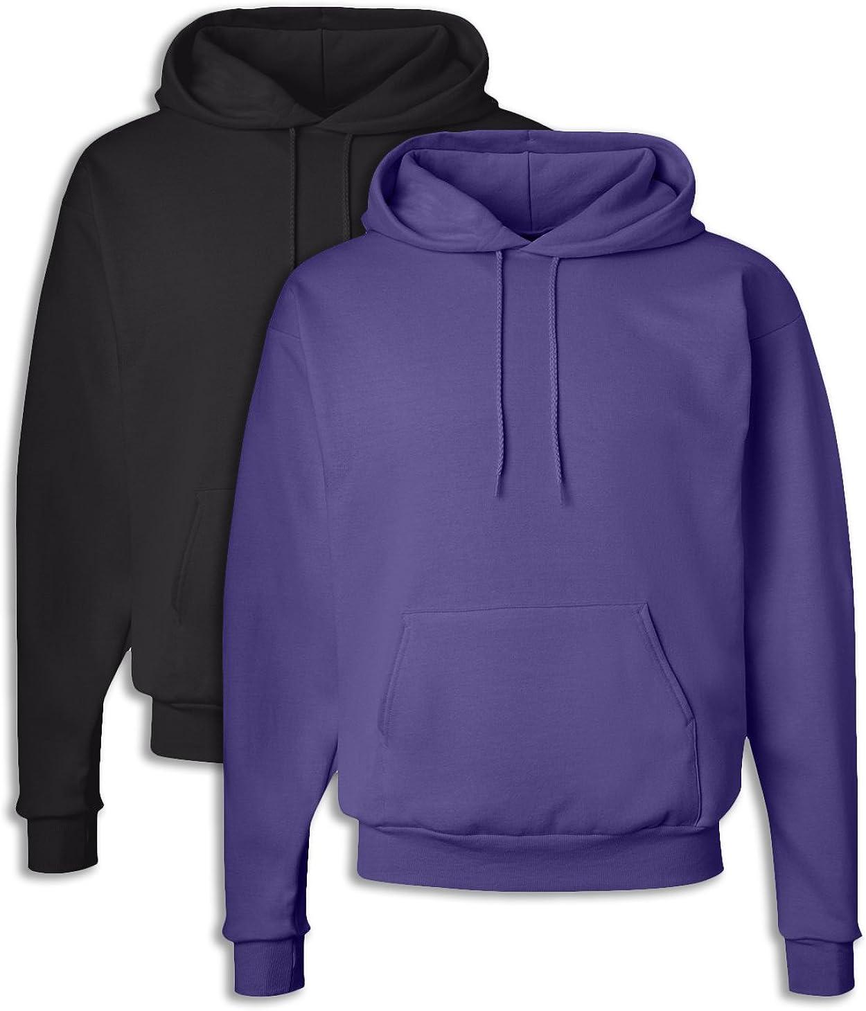 1 Purple Hanes P170 Mens EcoSmart Hooded Sweatshirt 2XL 1 Black