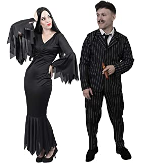 Ladies Crazy ghost Black White Stripe Beetle Halloween Fancy Dress Costume Adult