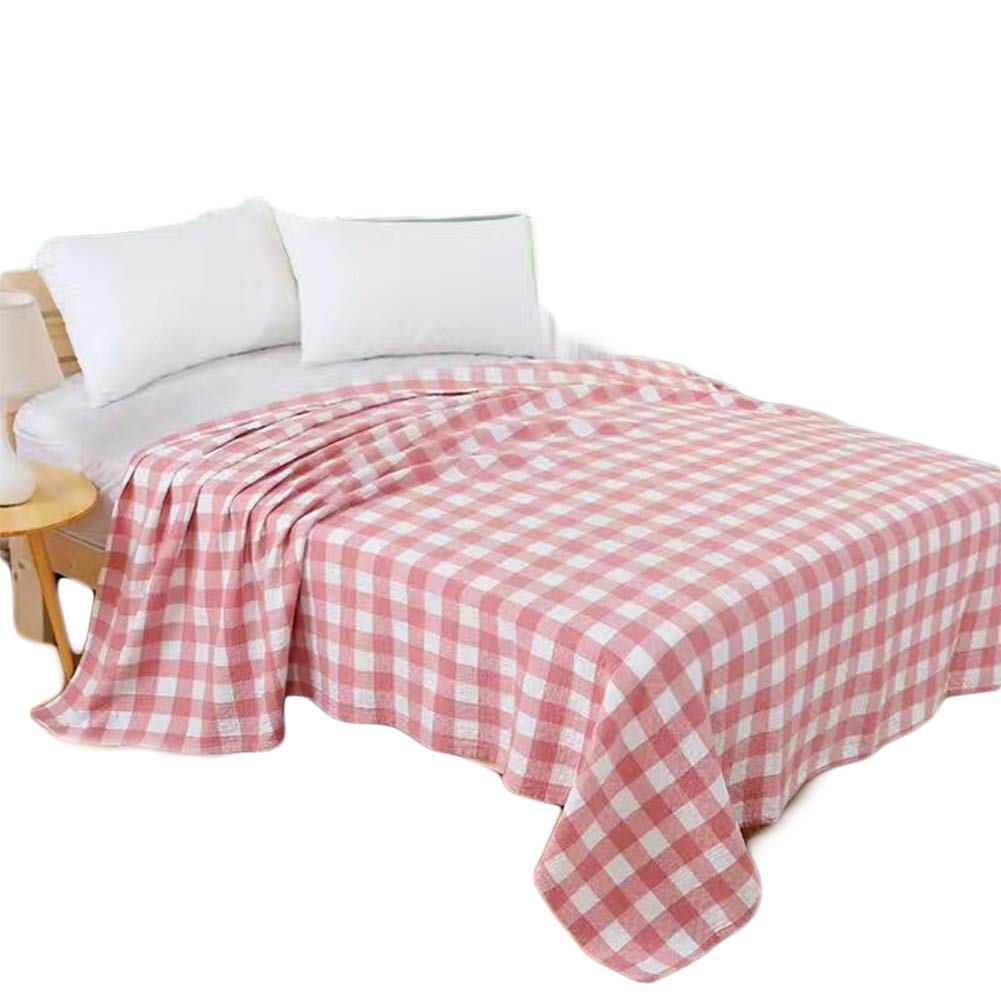 Fesky Grid Plaid Cotton Bedding Quilts Bedroom Bedspreads Coverlets Blankets Twin Size Bed Sheets Cover Twin for Girls Boys Adults Kids Fall Summer Spring Soft Cozy Lightweight 60''x80''