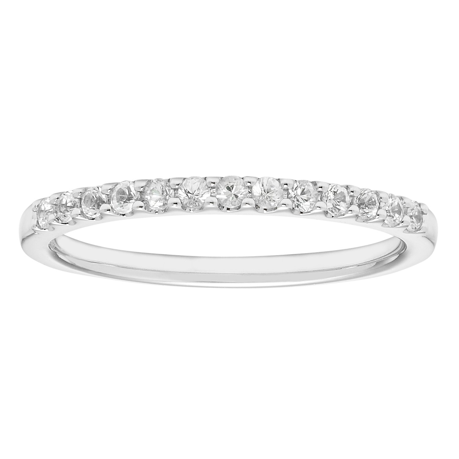 14K White Gold 1.04 Tgw. White Sapphire April Birthstone Stackable 2MM Band Ring