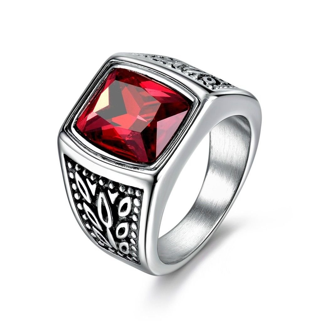 Promsup Mens Square Red Garnet Ruby Stainless Steel Solitaire Wedding Band Rings Jewelry 10