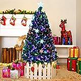 Goplus 5FT Artificial Christmas Tree Pre-Lit Fiber Optic Premium Spruce Hinged Tree W/UL Certified Multicolored LED Lights & Metal Stand