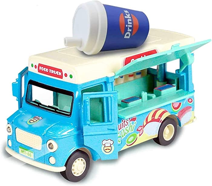 Jsbaby Car Toy Pull Back Vehicle,Functional Food Truck with Music&Light,Die Cast Home Decor Model Vehicle,Openable Doors&Awning Friction (Blue)