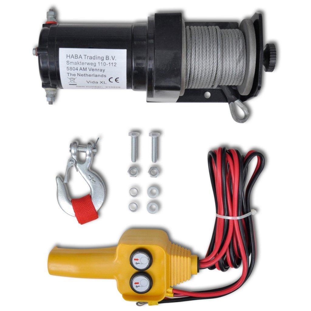 vidaXL 12 V Electric Winch 907 KG Wire Remote Control ATV Truck Trailer Profession 15176
