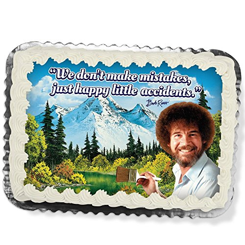 Bob Ross Printed Cake Icing Sheet 1/4 Sheet Size''We don't make mistakes, just happy little accidents.'' by Bob Ross