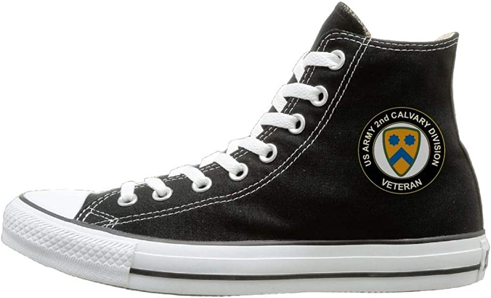 US Army Veteran 2nd Cavalry Division High Top Classic Canvas Fashion Sneaker Casual Walking Shoes