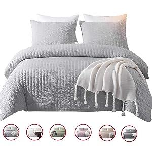 DuShow Gray Duvet Cover Set Queen Solid Soft Bedding Set Seersucker Hotel Quality Comforter Cover Set with Zipper Closure