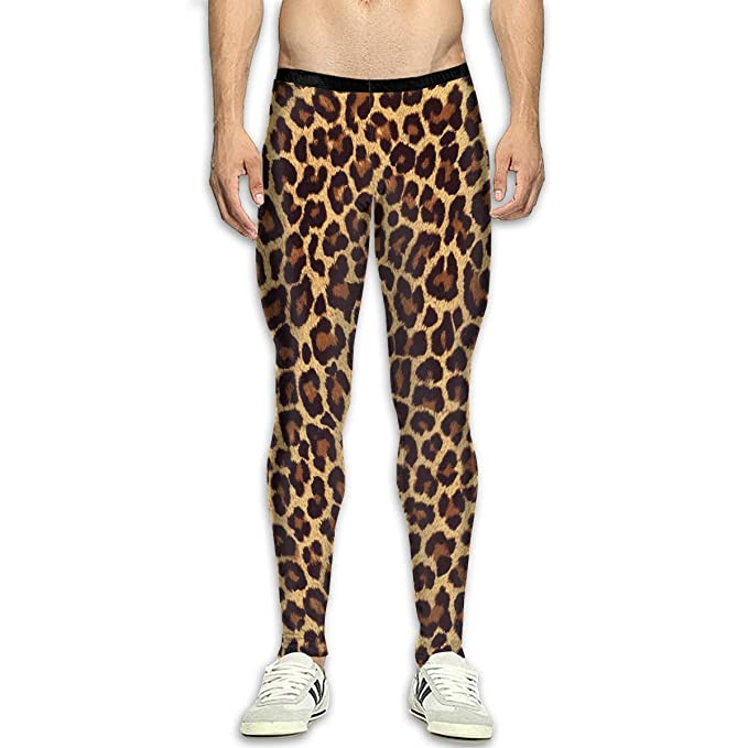 84c34fc134f84 Erdcyvi Leopard Print Men's Compression Pants Sports Tight Leggings Elastic  Waist Yoga Trousers White