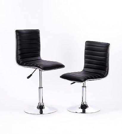 Beau Waroom Home Adjustable Chairs Set Of 2, PU Leather Modern Adjustable Height  Swivel Stools Hydraulic