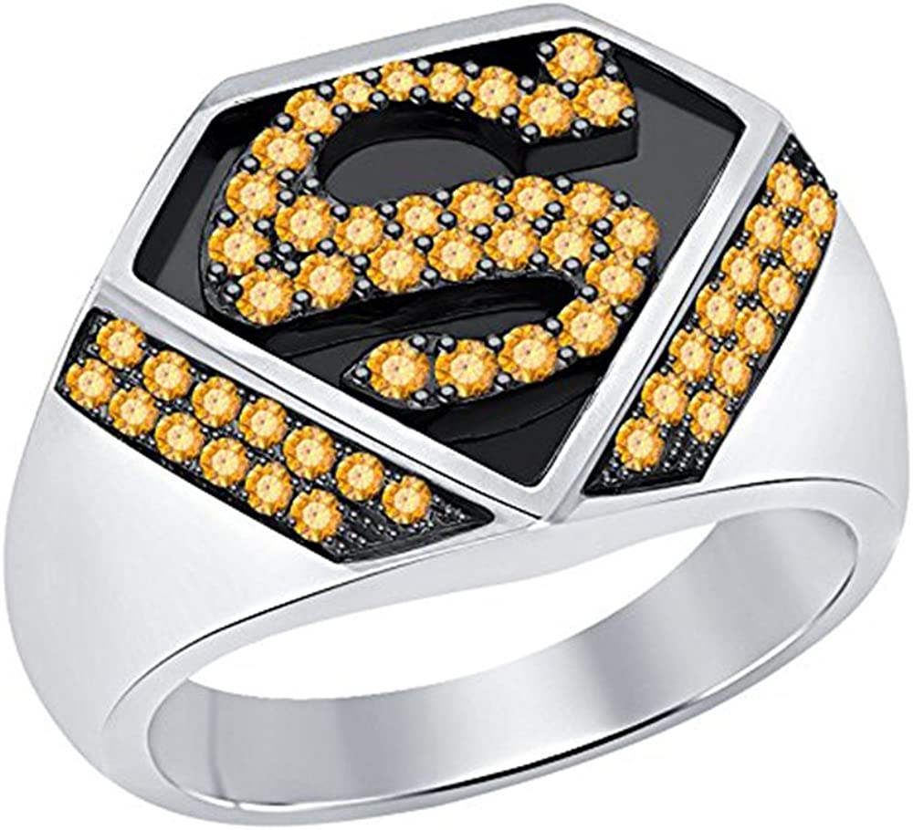 Ashley Jewels Fathers Day Collection-Mens Simulated Diamond Studded 14K Yellow Gold Plated Band Ring For Respected Father