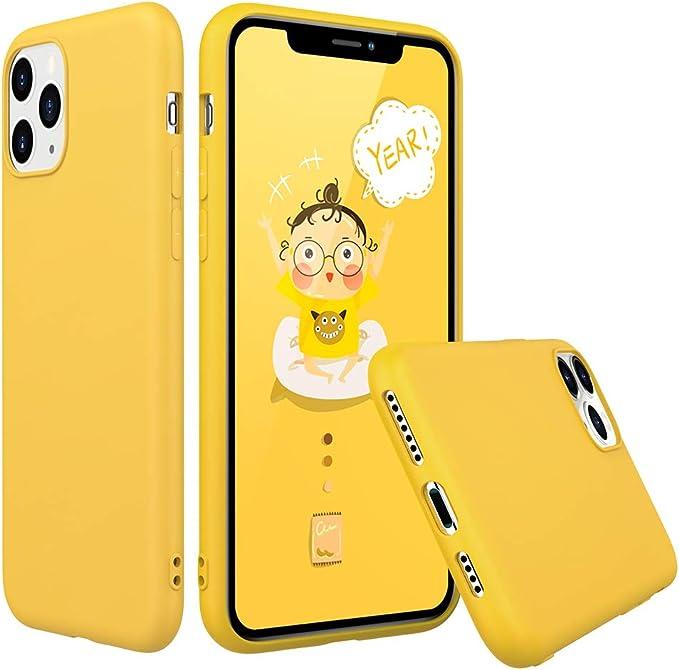 Peakally Funda iPhone 11 Pro MAX, Carcasa Amarillo TPU Suave Funda ...