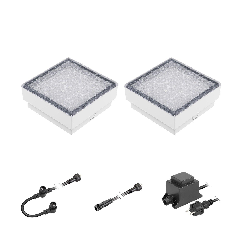 Ledscom  LED mattonella Gorgon Lampada da Incasso a Suolo da Esterno, 15x15cm, 12V, Bianca Fredda Kit di 2 lampade