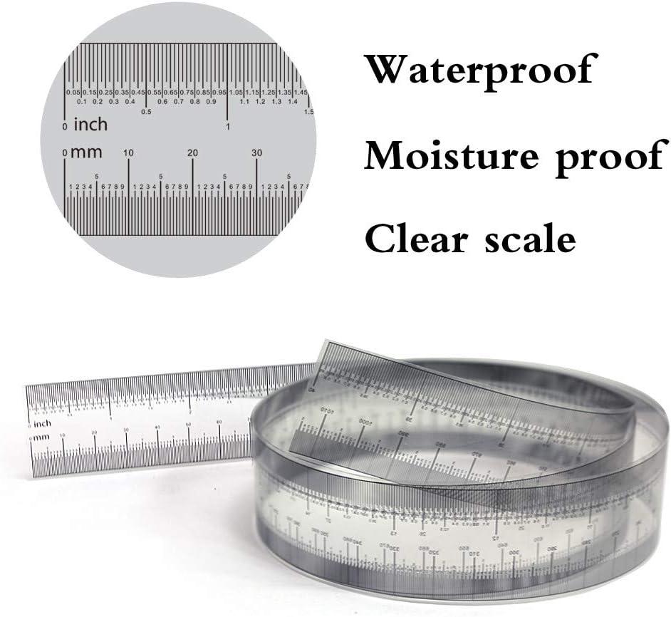 0-40 Inch Metric 0-016MM Flyalone⭐ Precision Gauge Transparent Film Ruler Inch