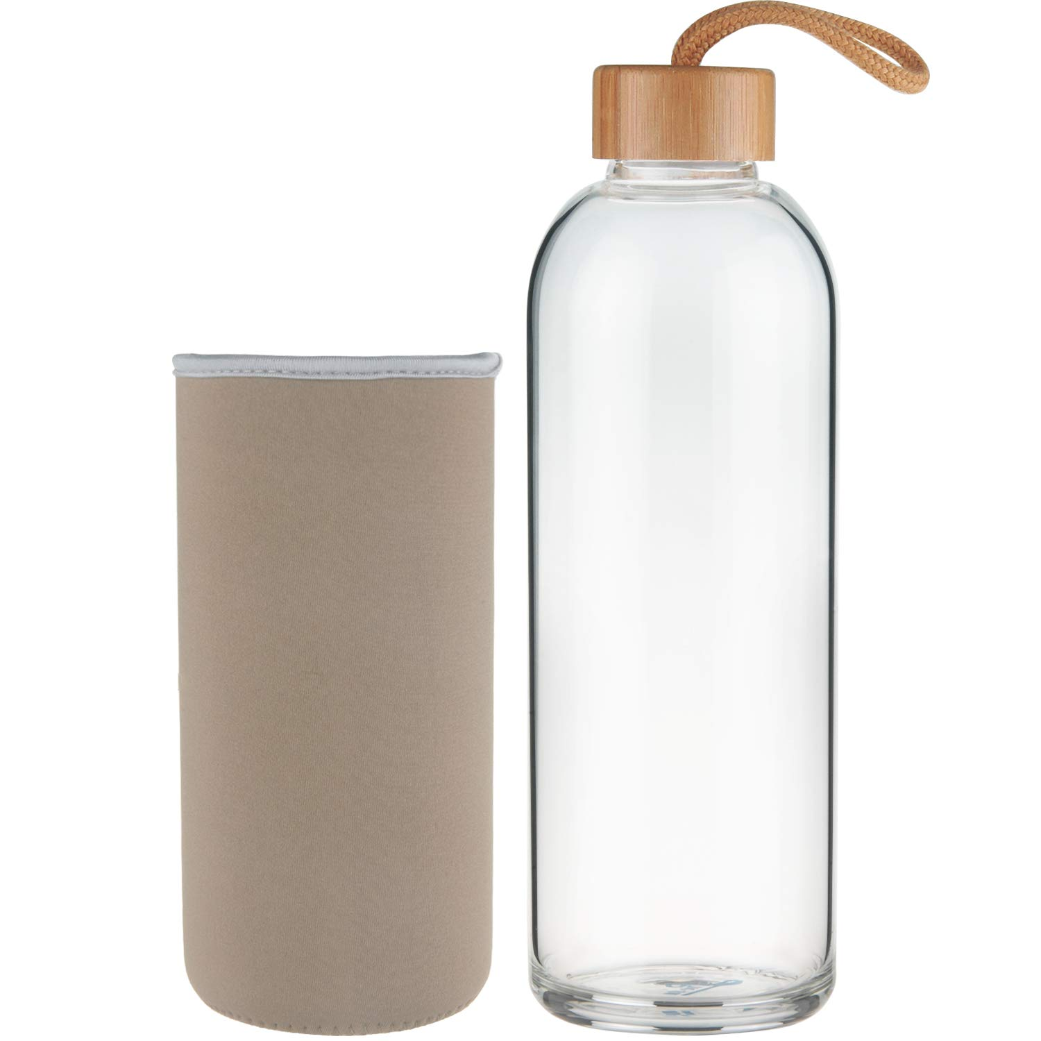 18 oz Ferexer Sports Borosilicate Glass Water Bottle with Bamboo Lid with Neoprene Sleeve 32 oz
