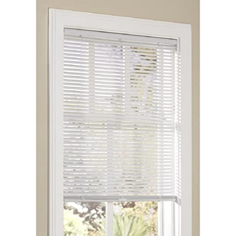 allen and roth cordless blinds wood blinds allen roth 1in cordless white vinyl light blocking miniblinds 46 amazoncom