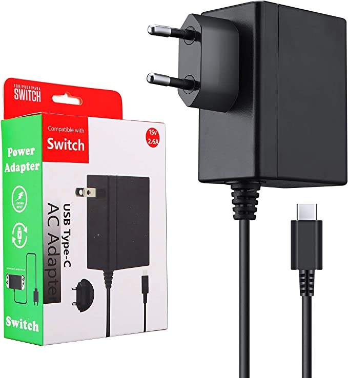 ECHTPower Cargador nintendo switch, Adaptador de Corriente para Switch, 15V/2.6A Carga Rápida USB Tipo C, Compatible con Modo TV/Nintendo Switch/ Switch Lite/otros Dispositivos de Tipo C (1,5M): Amazon.es: Electrónica