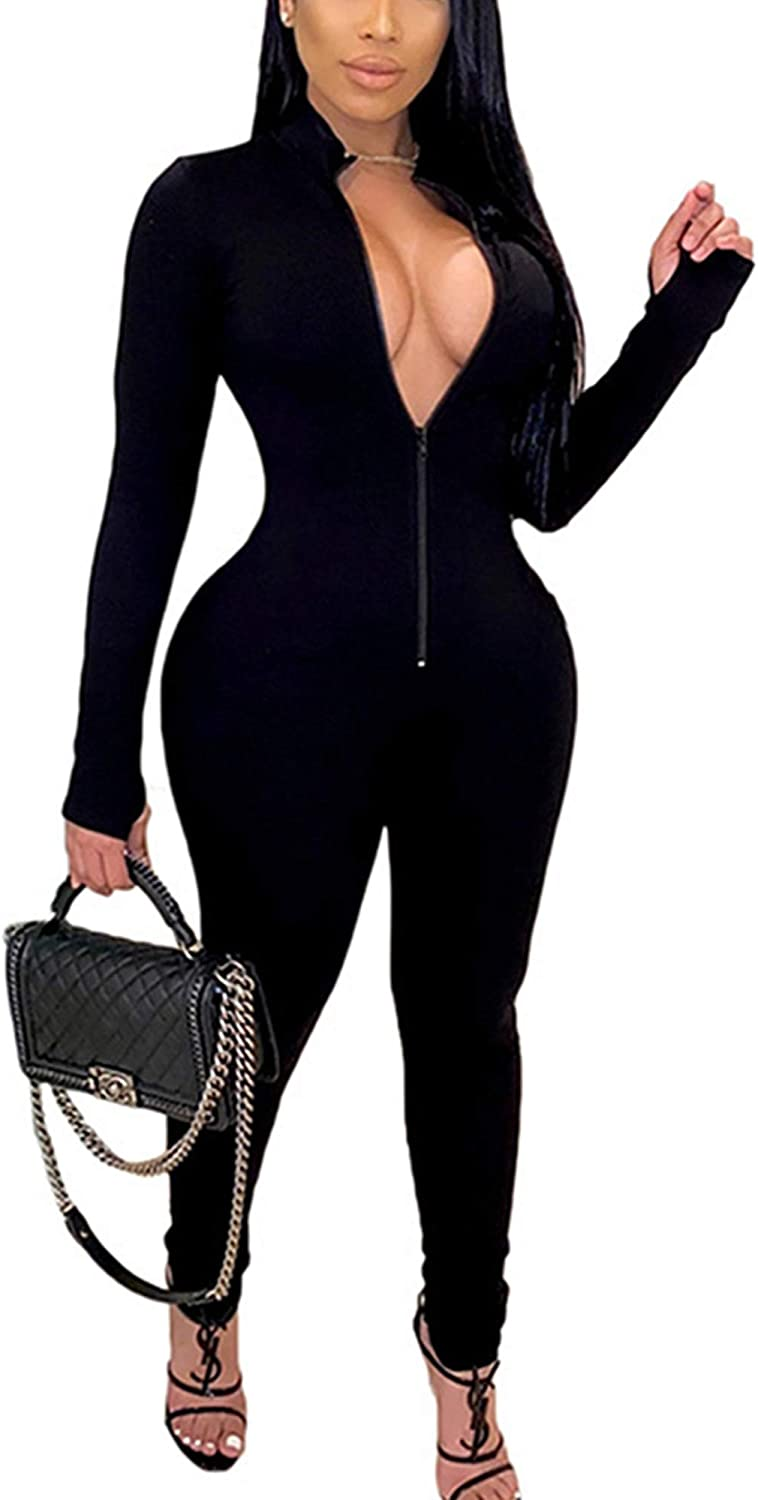 HODMEXI Women Embroidery Zipper High Neck Long Sleeve Bodycon Jumpsuit Shorts Rompers Party Clubwear Outfits Bodysuit