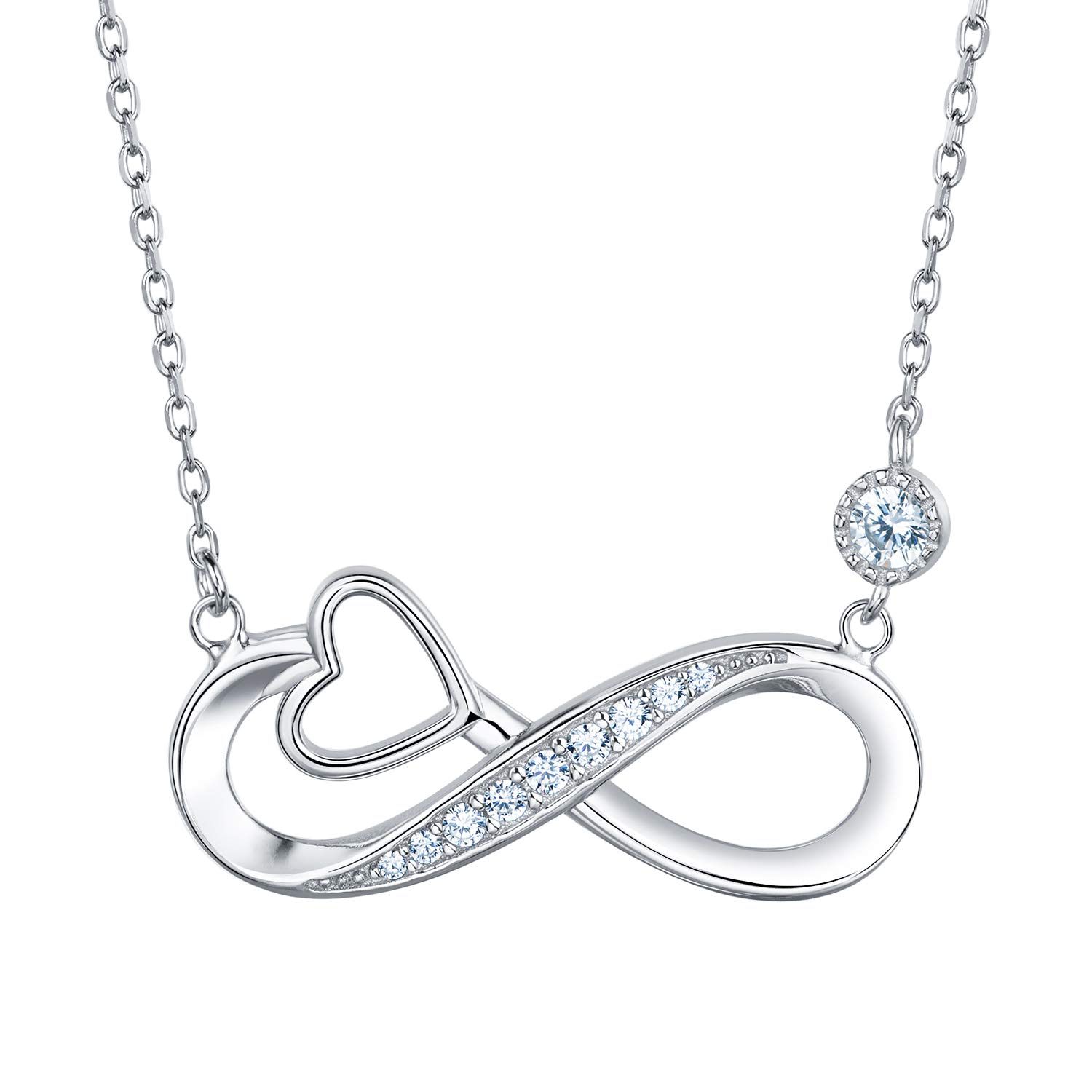 Van Chloe Infinity Heart Necklace for Women 925 Sterling Silver Love Pendant Necklace White Gold Plated CZ Diamond Gift for Women Girls 18'' by Van Chloe