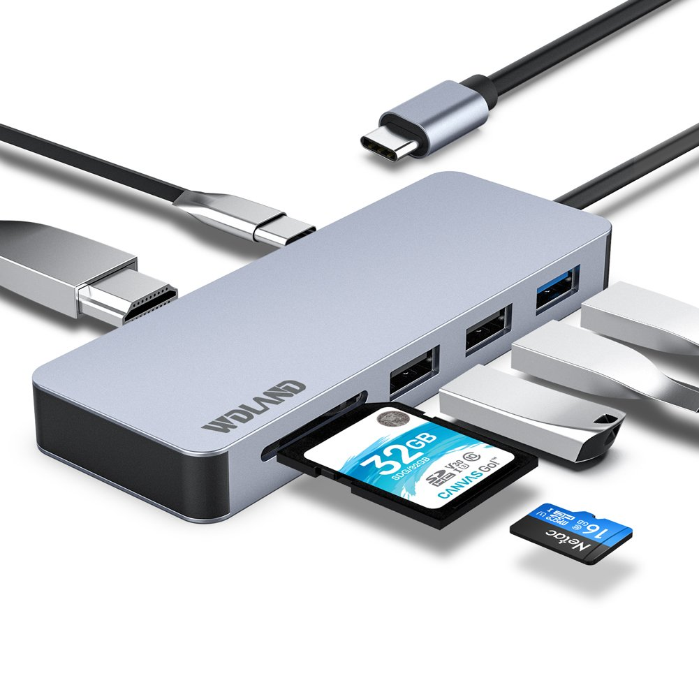 USB C Hub USB Type C Hub USB C Adapter with USB C Charging Port, 4K HDMI Output, USB 3.0/USB 2.0 Port, PD Charging, Micro n SD Reader for Windows,Mac Book,Apple,Samsung and Other Devices