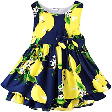 Vincent/&July Baby Girls Summer Sleeveless Blue Floral Printing Sling Dress
