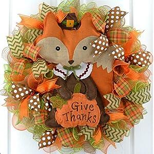 Fox Give Thanks Fall Thanksgiving Deco Mesh Door Wreath : Brown Orange Green 105