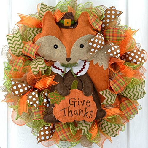 Fox Give Thanks Fall Thanksgiving Deco Mesh Door Wreath : Brown Orange Green