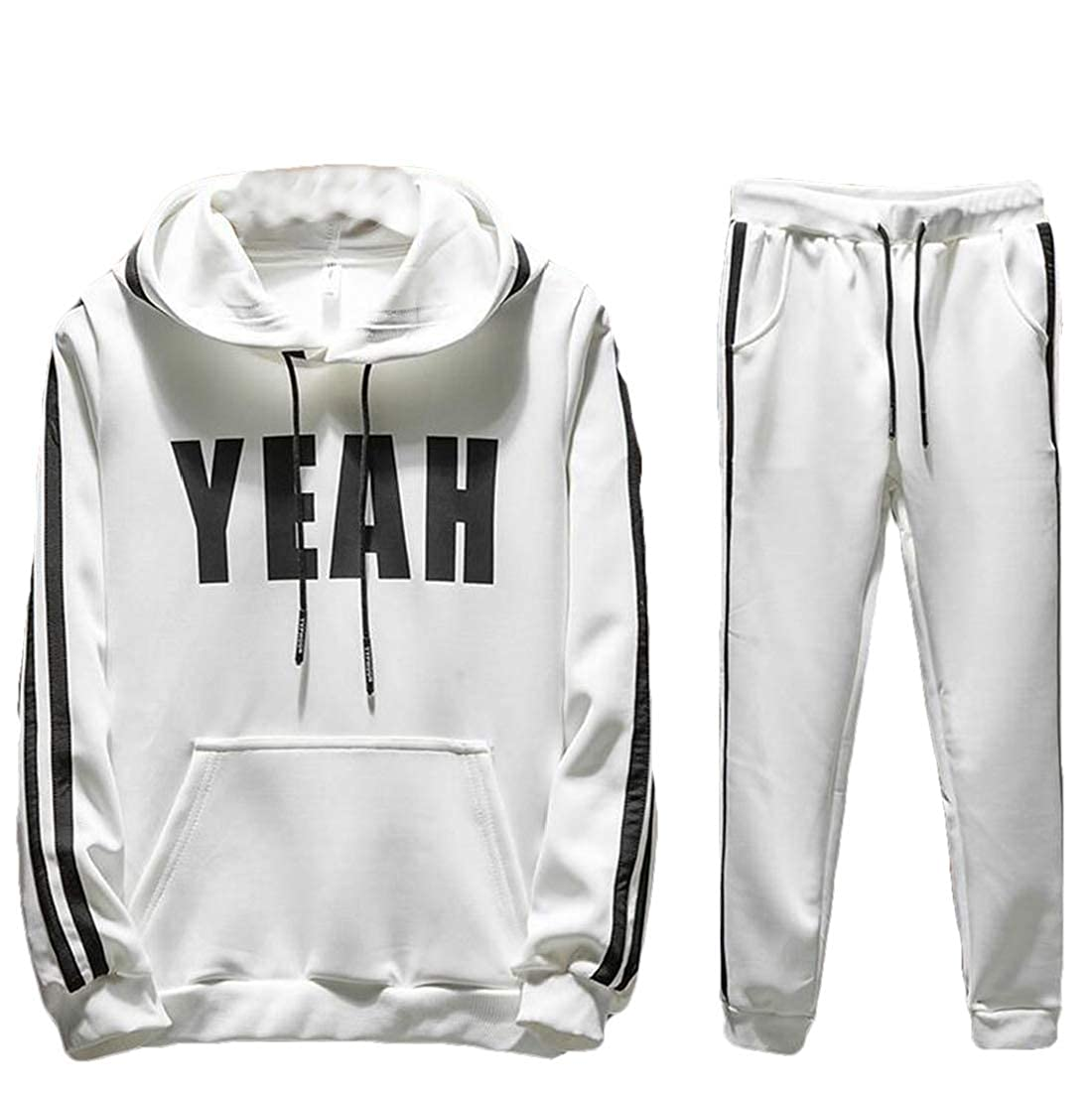 TD-CACA Mens Two-Piece Sweatshirts Workout Running Pants Sweatsuit Tracksuits Tracksuits Athleisure