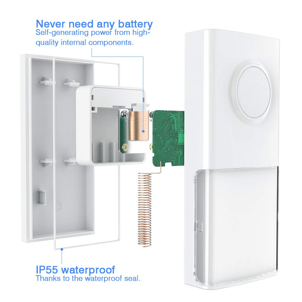 Wireless Doorbell Waterproof Door Bell Chime Kit with 2 Plug-in Receivers,58 Melodies Chimes,4 Volume Levels,Night Light and LED Indicator,No Battery Required