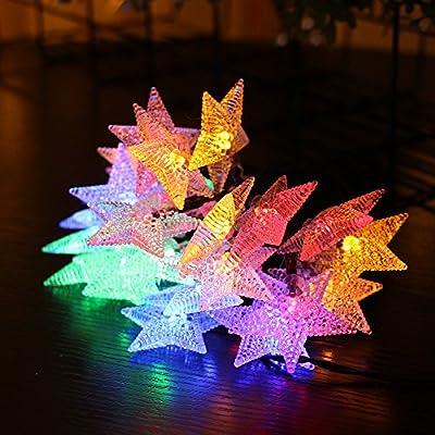 FUNIAO Solar String Lights,9.8ft 30Led Fairy Star Decorative Solar Light Fit Chrismas Garden Wedding Party Landscape(2 Pack,60LED)